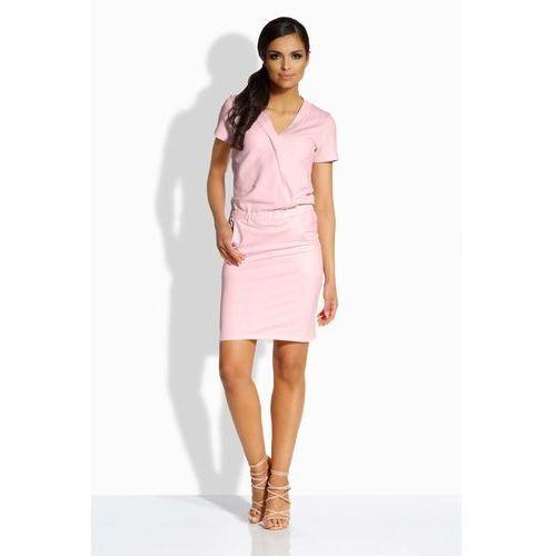 Różowa Ołówkowa Sukienka z Kopertowym Dekoltem, w 2 rozmiarach