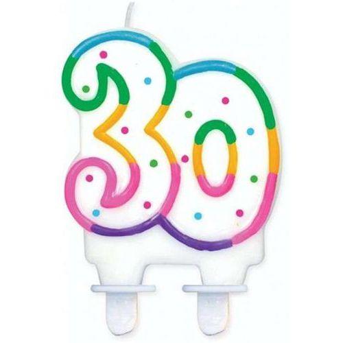 Go Świeczka na 30-tke z kolorową obwódką i kropeczkami - 1 szt. (5901238630678)