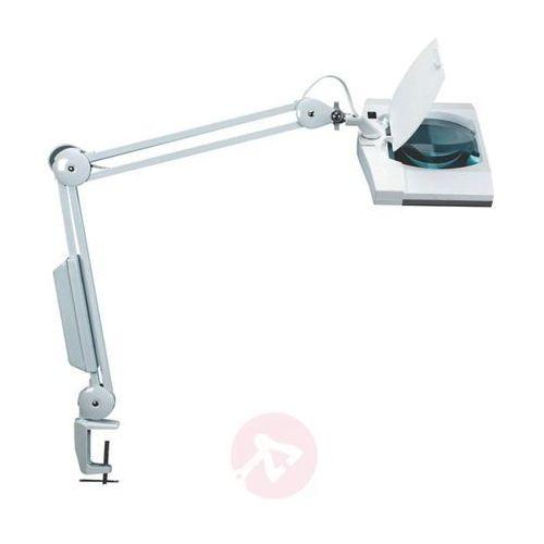 Jakob maul Lampka energooszczędna z lupą na biurko maulvitrum, 2x9w, mocowana zaciskiem, biała