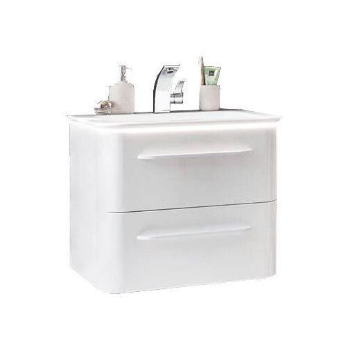 Nowoczesna szafka z umywalką 60 cm Lanzet Ekko - Biały wysoki połysk \ 60 cm \ tak