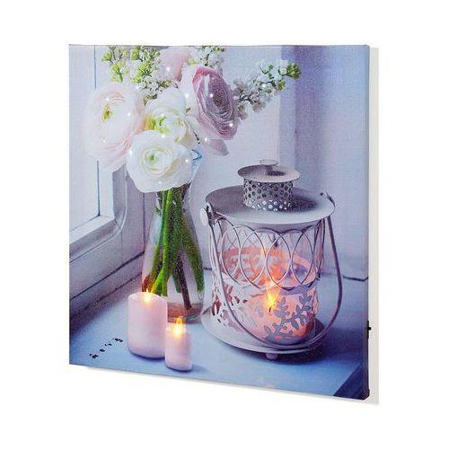 """Obraz led """"świece i kwiaty"""" biały marki Bonprix"""