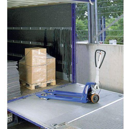 Eurokraft Paletowy wózek podnośny,rolki nośne z nylonu, tandemowe, z hamulcem jezdnym i postojowym