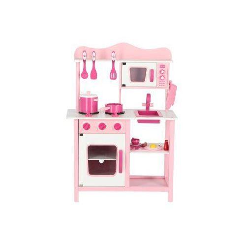 Drewniana kuchnia dla dzieci CLASSIC RÓŻOWA z wyposażeniem, 384B-799CC