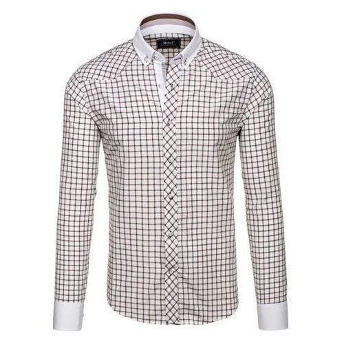 Brązowa koszula męska elegancka w kratę z długim rękawem Bolf 6959 - BRĄZOWY, koszula męska BOLF