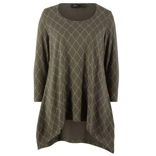 Shirt z plisą guzikową bonprix biel wełny