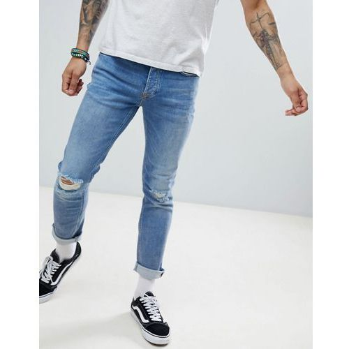 River Island Slim Jeans With Rips In Mid Wash Blue - Blue, jeans