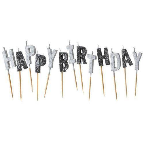 Zestaw świeczek na pikerach Happy Birthday srebrne i czarne - 1 kpl.