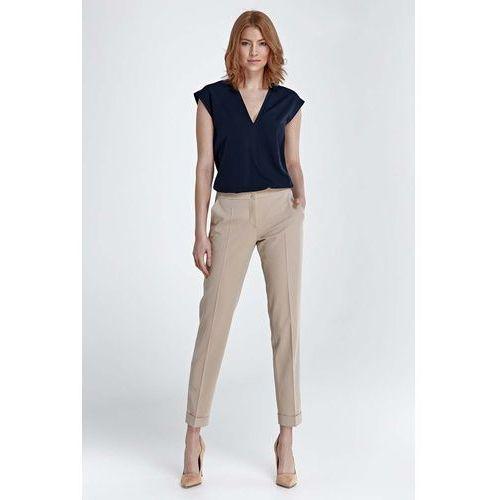 Nife Beżowe spodnie w kant z mankietem