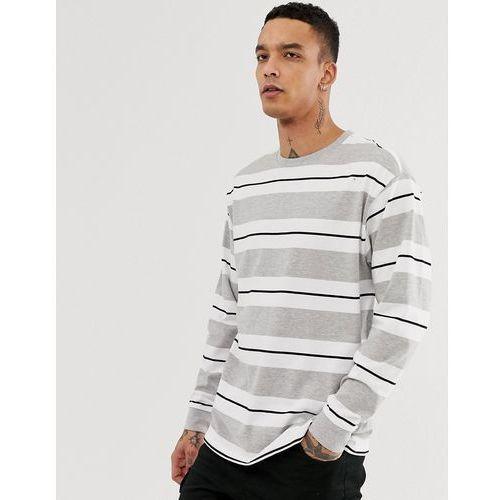 New Look oversized long sleeve cuff t-shirt in grey stripe - Grey, kolor szary
