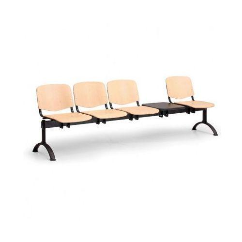 Drewniana ławka do poczekalni Iso, 4-siedziska + stolik, czarne nogi