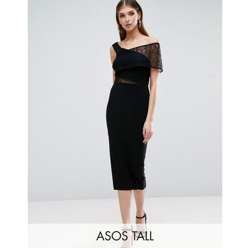 slinky bardot off the shoulder lace insert midi dress - black marki Asos tall
