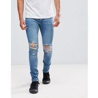 Religion Jeans In Skinny Fit With Rips And Zip - Blue, jeansy