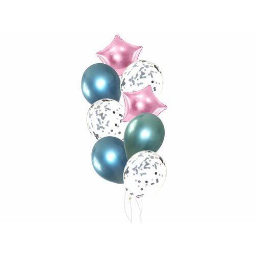Zestaw balonów z różowymi gwiazdkami - 17 szt.
