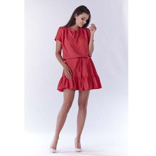 Różowa mini sukienka w stylu boho z krótkim rękawem marki Awama