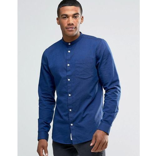 oxford shirt with grandad collar in navy in regular fit - navy, River island
