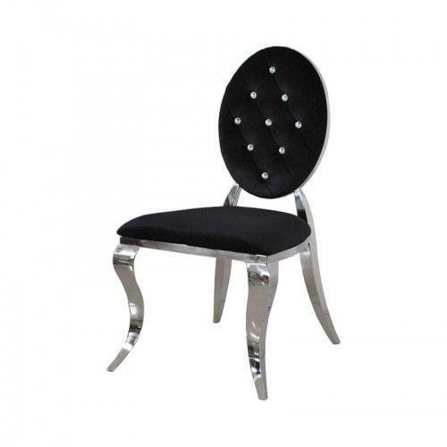 Krzesło Ludwik II glamour Black - nowoczesne krzesła pikowane kryształkami, Louis2/KRZP/black/K