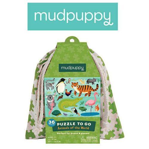 Mudpuppy  - puzzle podróżne w woreczku zwierzęta świata 36 elementów 3+