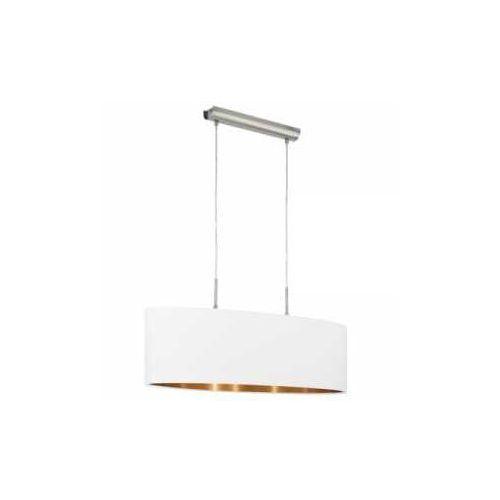 Lampa wisząca Eglo Pasteri 95046 z abażurem 2x60W E27 biały/miedź, 95046