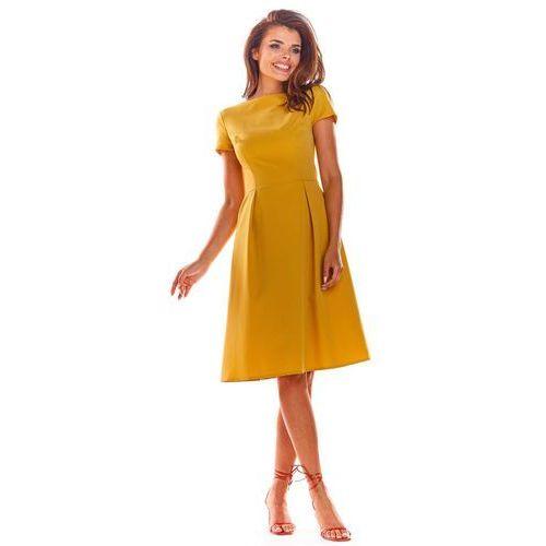 Żółta Klasyczna Lekko Rozkloszowana Sukienka z Krótkim Rękawem, rozkloszowana