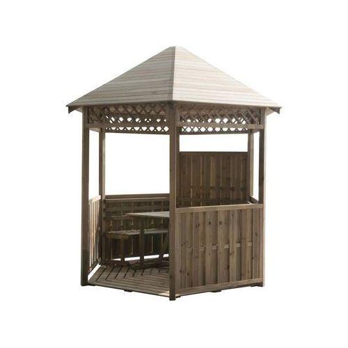 Altana ogrodowa 300 x 261 cm drewniana z ławkami i stołem STELMET (5900886383905)