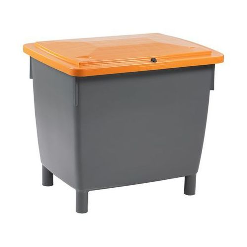 Pojemnik prostokątny, z pokrywą na zawiasach, poj. 400 l, pojemnik bazaltowo-sza