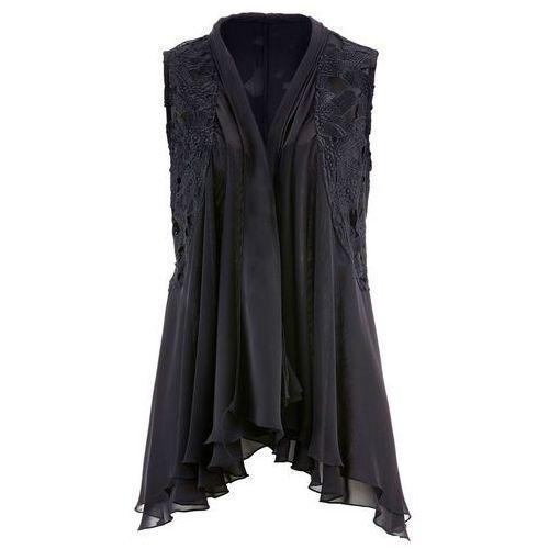 Kamizelka bluzkowa z koronką bonprix czarny, kolor czarny