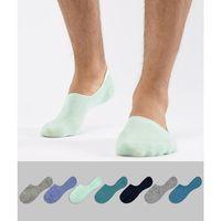 design invisible liner socks in greens & blues 7 pack save - multi marki Asos