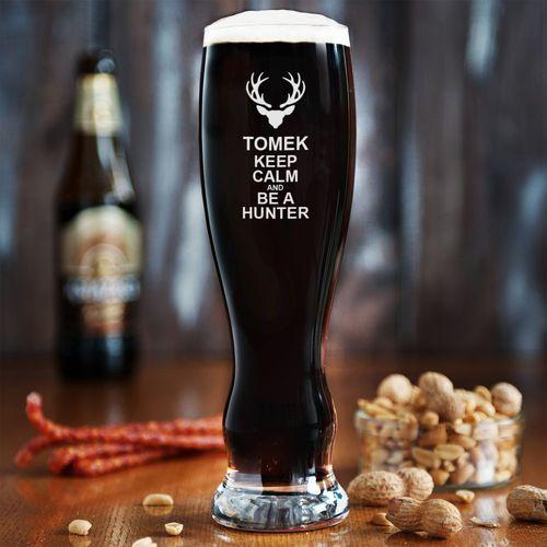 Keep calm and be a hunter - Grawerowana Szklanka do piwa - Szklanka do piwa