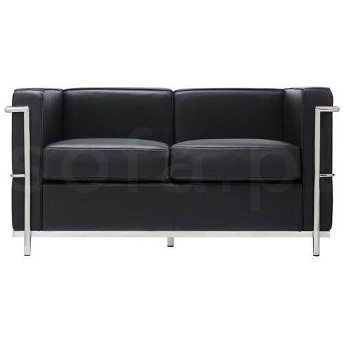 Sofa dwuosobowa SOFT LC2 czarna - włoska skóra naturalna, metal, kolor czarny