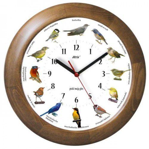 Atrix Duży drewniany zegar z głosami ptaków #1