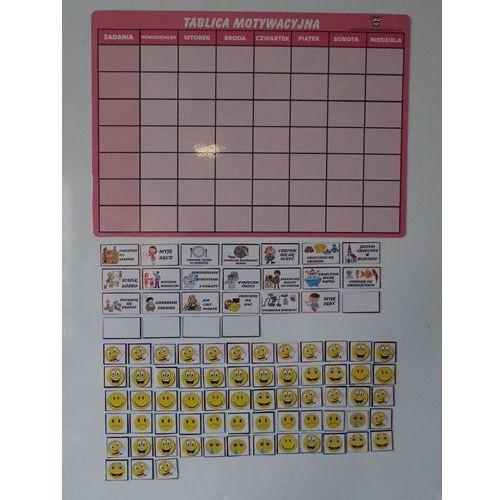 Magnetyczna tablica motywacyjna - różowa wesołe buźki marki Bystra sowa