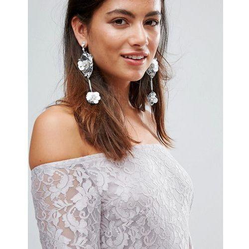 Johnny loves rosie sequin & rhinestone flower statement drop earrings - silver