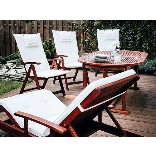 Beliani Stół rozkładany + 6 krzeseł + 2 leżanki + stolik + beżowe poduchy - toscana