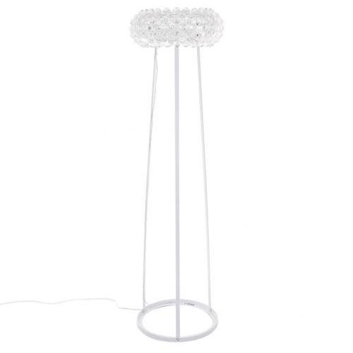 Italux Stojąca lampa podłogowa lorna mle3024/1 okrągła oprawa z kryształkami crystal biała przezroczysta (5900644334309)
