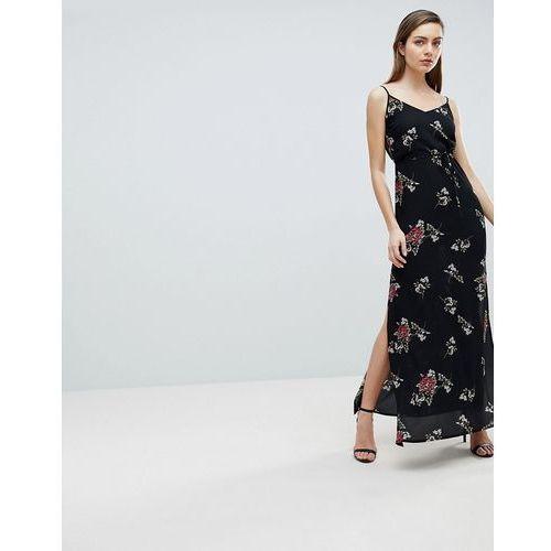 Ax paris floral maxi dress - black
