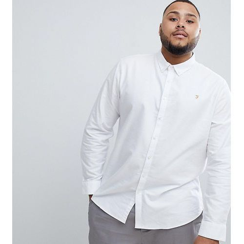 Farah brewer slim fit buttondown shirt in white exclusive at asos - white