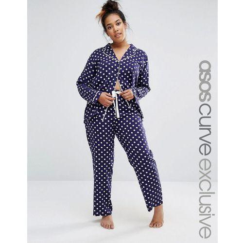 ASOS CURVE Spot Print Traditional Shirt & Trouser Pyjama Set in Jersey - Navy, ASOS Curve