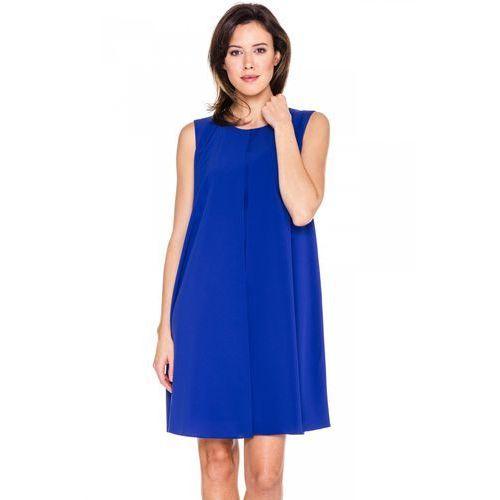 Szafirowa prosta sukienka - Bialcon, kolor niebieski