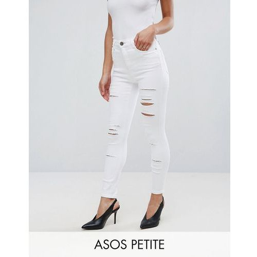 ASOS PETITE RIDLEY High Waist Skinny Jeans in Optic White with Shredded Rips - White