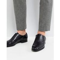 smooth leather oxford shoes in black - black, Boss