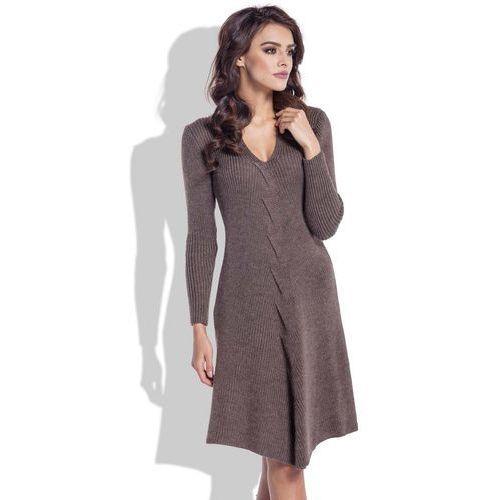 Espresso rozkloszowana sukienka wełniana z warkoczem, Fobya