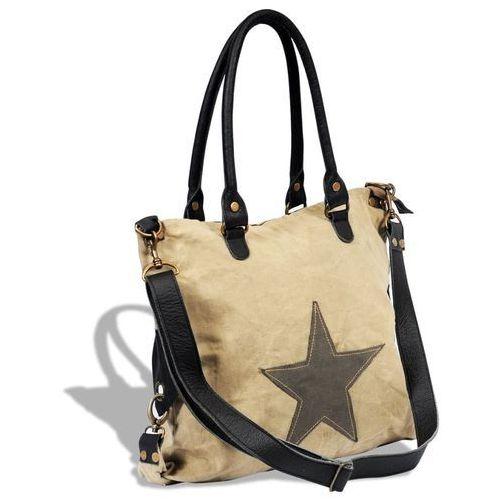 vidaXL Płócienno-skórzana torba na zakupy z gwiazdą, beżowa
