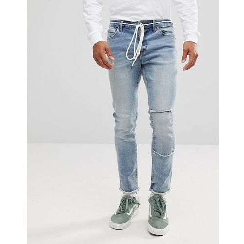 ASOS Skinny Jeans In Mid Wash With Rip And Repair and Lace Belt - Blue, jeans