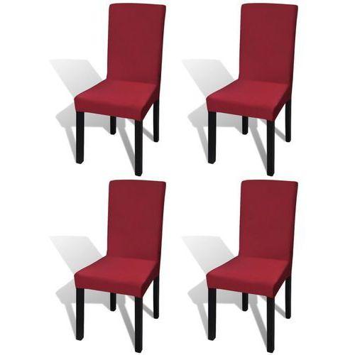 vidaXL Elastyczne pokrowce na krzesła w prostym stylu, bordo 4 szt.