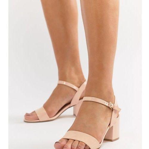 wide fit mid block heeled sandals - beige, London rebel