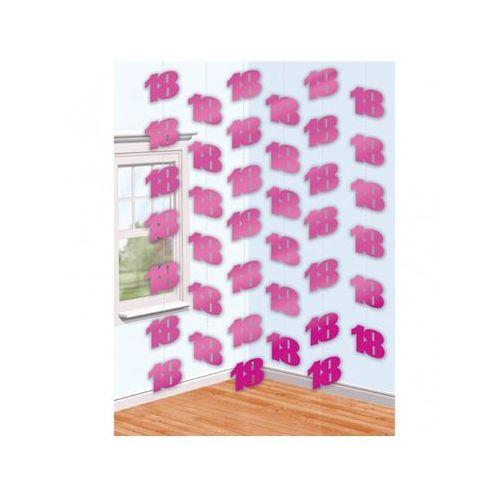 Dekoracja z wiszących łańcuchów na 18 urodziny - różowa - 213 cm - 6 szt. marki Amscan