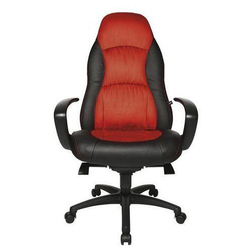 Fotel obrotowy, imitacja skóra / mikrowłókna, czarny / czerwony. Elementy boczne