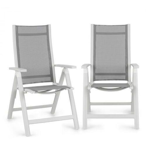 Blumfeldt Cadiz krzesło składane zestaw 2 szt. 59,5x107x68 cm ComfortMesh aluminium białe (4060656152238)