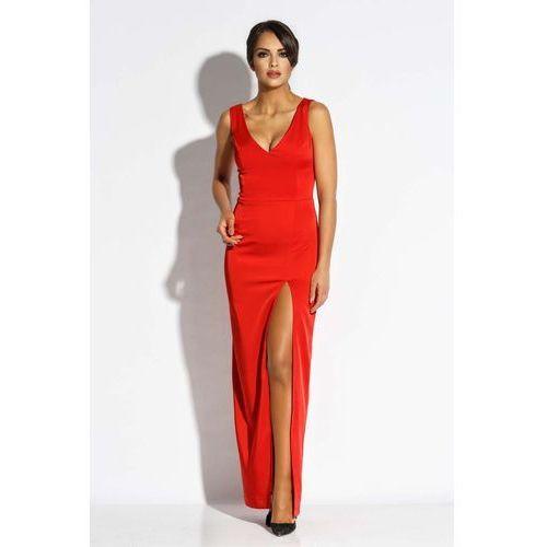 Czerwona sukienka wieczorowa maxi z długim rozcięciem, 1 rozmiar