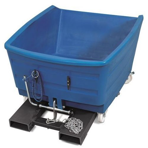 Pojemnik przechylany do wysokich obciążeń z PE, poj. 1000 l, niebieski. Z poliet